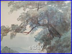 Estampe japonaise originale et signée Promenade au bord du fleuve