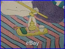FOUJITA le fumeur d'opium LITHOGRAPHIE originale en couleur signée #1928