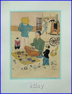 FOUJITA le joueur LITHOGRAPHIE originale en couleur signée #1928