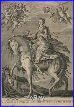 F Mathias Irala Marie Anne Victoire d'Espagne à Cheval gravure originale XVIIIe