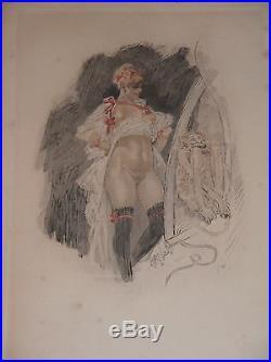 Félicien rops Impudence gravure couleurs au repérage par Bertrand E668 rareté