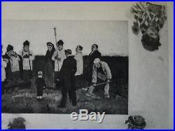 Felicien rops gravure un enterrement au pays Wallon avec remarques sur japon