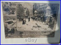 Félix Buhot l'hiver à Paris 1879 estampe gravure