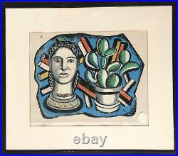Fernand Leger, Tête Et Plante, Imprimé, Signée Et Numéroté En Crayon