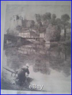 GRANDE EAU-FORTE (GRAVURE) Lavandière & Château Clisson, numérotée, signée