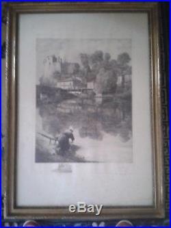 GRANDE EAU-FORTE GRAVURE Lavandière & Château Clisson, numérotée, signée Ferry