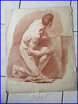 GRANDE GRAVURE XVIIIème siècle homme nu curiosa érotique CARLE VANLOO DE MARTEAU