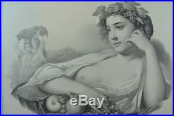 GRANDE LITHOGRAPHIE Portrait Femme Automne Vendange allégorie ÉROTIQUE 19 Print
