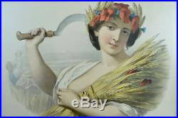 GRANDE LITHOGRAPHIE Portrait Femme l'été Lafosse allégorie19 Print rare