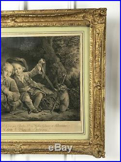 GRAVURE ANCIENNE DU 19 eme REPRESENTANT UNE SCENE D ENFANTS TRES BIEN ENCADRÉE