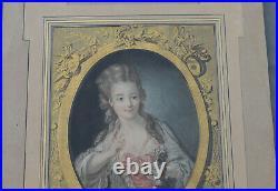 GRAVURE ANCIENNE Élisabeth de France FEMME rehaussée de couleur