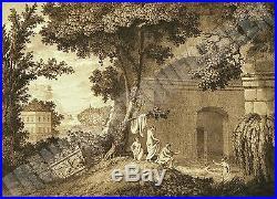 GRAVURE ANCIENNE déb XIXè VUE DES BAINS DE CICERON POUSSOL grav Nicolas COLIBERT