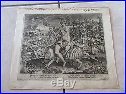 GRAVURE Adriaen Collaert VERS 1580 ALLEGORIE AMERICANA 16ème SIECLE