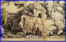 GRAVURE ROBERT FRAGONARD Planche 65 Vues de Rome Adélaïde ALLOU 18ème