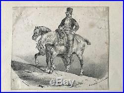 Gericault Théodore Cavalier Et Deux Chevaux Lithographie