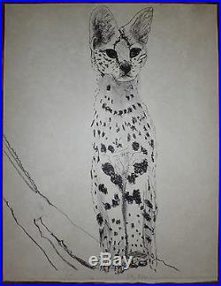 Gilles Aillaud Lithographie originale signée Nouvelle figuration Le Serval