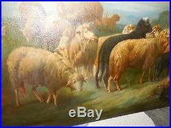 Grand animalier moutons et gardien par Fcombes avec 92 cm longueur