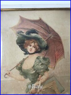 Grande Estampe Signée VALLET BISSON Nantes Daté 1903 ORIGINAL PRINT 79 cm