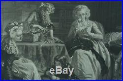 Grande Gravure Ancienne Royaliste Marie Antoinette Au temple Louis XVI ward 19c