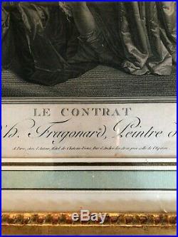 Grande Gravure D' Apres Fragonard Le Contrat 18 Eme Siecle