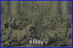 Grande Gravure ancienne Pierre Subleyras Marie Madeleine Jesus Christ 18e rare