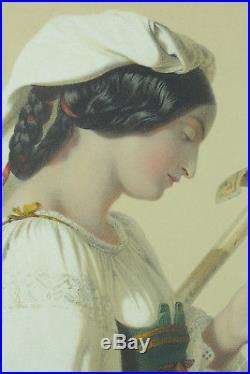 Grande Lithographie Couleur 19 ème Portrait Femme fileuse à la quenouille Julien