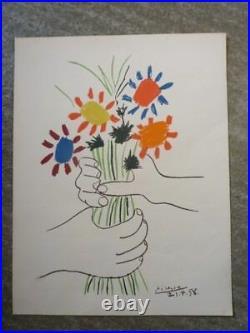 Grande Lithographie PICASSO 1958 Bouquet de fleurs (12840)