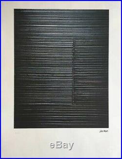 Grande Lithographie Pierre Soulages Signée Et Numérotée 65x50cm