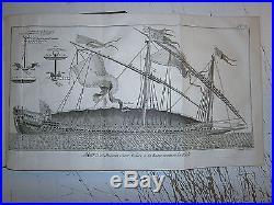 Gravure 18° Louis XIV Marine royale dessin d'une galére à la Rame la Réale 1779