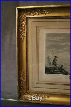 Gravure 18e Marine Fin de la pêche Martini J. Vernet cadre époque Restauration