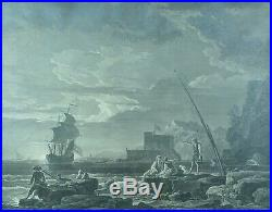 Gravure Ancienne Vernet Marine Balechou Avignon Provence Le Calme cadre Argent