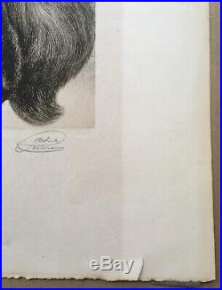 Gravure Chat Signée Au Crayon Jean-Charles Renaud (1891-1956) Gravé Ed Sagot