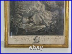 Gravure François BOUCHER Le messager discret gravée par GAILLARD XVIIIe encadrée
