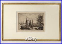 Gravure Jean Frélaut paysage bateaux Golfe Morbihan Ile aux Moines Bretagne