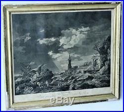 Gravure La tempeste daprès Joseph Vernet, gravé par AD Dimensions 35 x 41 cm