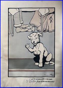 Gravure Lithographie Benjamin RABIER Original Signé Chien Art Publicitaire