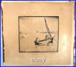 Gravure Originale Eau Forte par Jean FRÉLAUT (1879-1954) Marine Bateau Mer