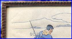 Gravure Pochoir Paysage Berger Troupeau Maison Louis FLOUTIER (1882-1936) Basque
