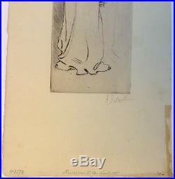 Gravure Pointe Sèche Antoinette DESAILLE Femme Toilette Impressionniste 1900 Hd4