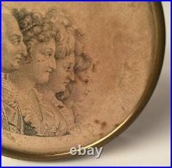Gravure Royaliste Sur Papier Louis XVI Famille Fin XVIII Eme Cadre Laiton H535