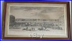 Gravure. Vue des écuries de Versailles prise de la seconde grille, Rigaud XVIIIe