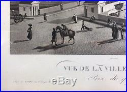 Gravure XIX Eme-garneray Louis Ambroise-vue Du Pont De Bordeaux -chez Basset