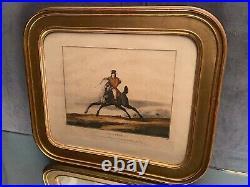 Gravure XIXe Le galop C. Vernet J. Darcis cadre bois doré cheval équitation