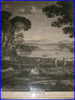 Gravure XIXème d'après claude lorrain par Pietro Parboni