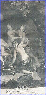 Gravure XVIII L Alliance De Bacus Et De L Amour Jean Audran Bon Etat Engraving