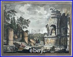 Gravure XVIIIe rehaussée, Chantier archéologique, Encadrée et sous verre