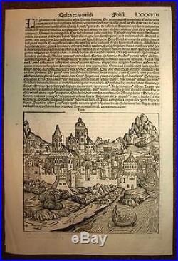 Gravure ancienne CHRONIQUE DE NUREMBERG par Schedel VUE DE LYON 1493