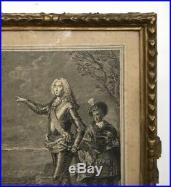 Gravure ancienne, Chevalier, Encadrée et sous verre, Cadre ancien, XVIIIe