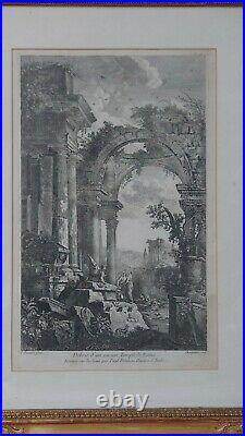 Gravure ancienne Pannini vue antique se Rome Italie avec cadre ancien