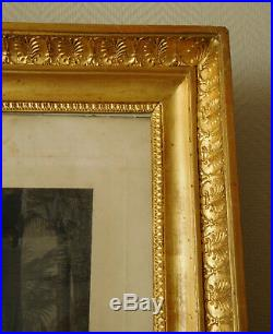 Gravure d'après Horace Vernet, cadre bois doré à la feuille d'or époque EMPIRE